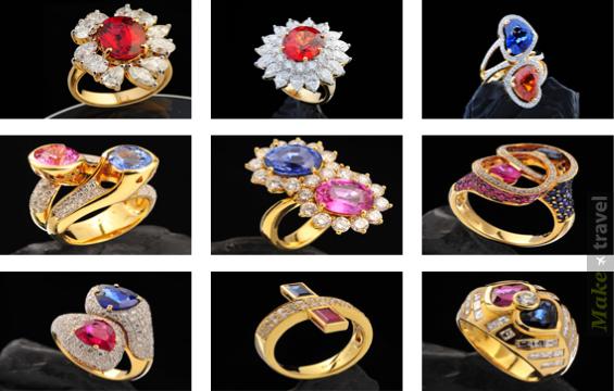 Золотые кольца с цветными фэнси сапфирами
