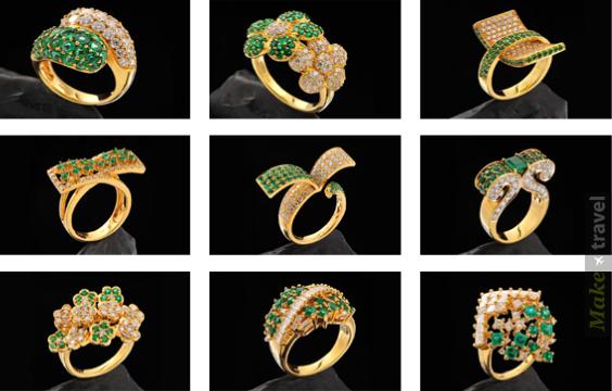 Золотые кольца с изумрудами