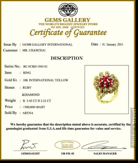 Сертификат качества Gems Gallery