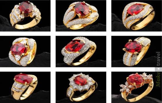 Золотые кольца с рубинами