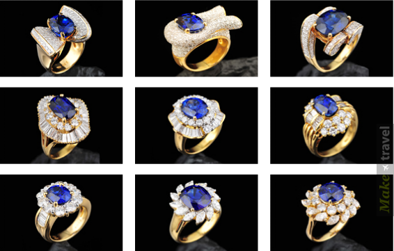 Золотые кольца с сапфирами